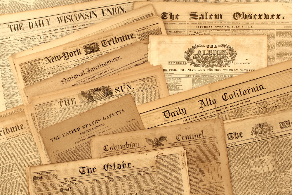 A collection of original 19th century American newspapers
