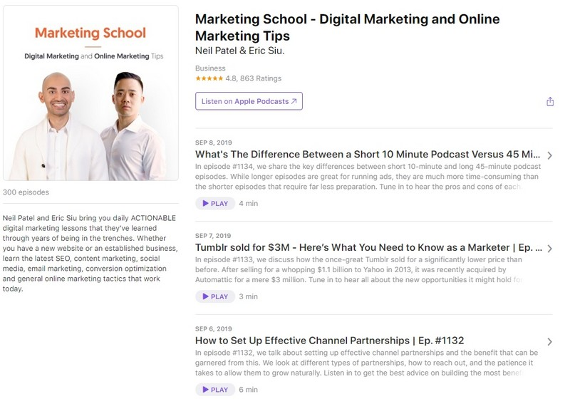 подкаст Marketing School With Neil Patel